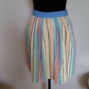 ANTHROPOLOGIE ODILLE Striped Linen Skirt